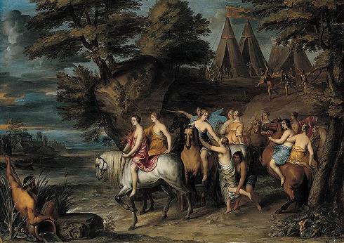 Frans Wouters: Cloelia en haar gezelschap vluchten voor de Etrusken