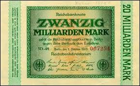 Duits geldbiljet uit inflatietijd