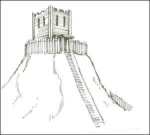 Motte met houten toren