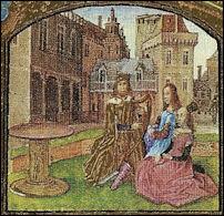 Koning David bespeelt de harp in zijn paleis, miniatuur uit 1475