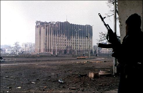 Het verwoeste presidentieel paleis in Grozny