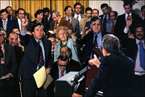 Persconferentie van president Richard Nixon