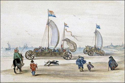 Zeilwagen op het strand van Scheveningen