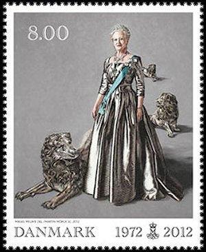 Koningin Margrethe II op postzegel in 2012