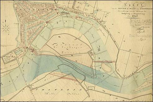 Kaart van de rivier de Maas bij Rotterdam