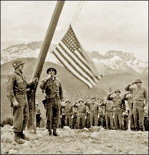 Amerikaanse vlag op de Obersalzberg