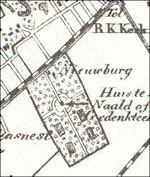 Huis ter Nieuburch in 1867 op kaart Kuyper