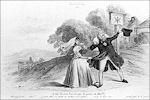 Spotprent over het vertrek van Willem I met Henriette naar Pruisen